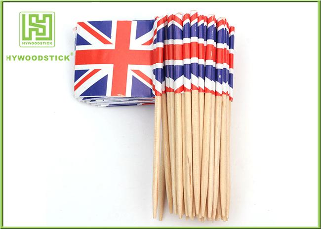 Flag Food Picks Cocktail Accessories , Square Round British / American Flag Toothpicks