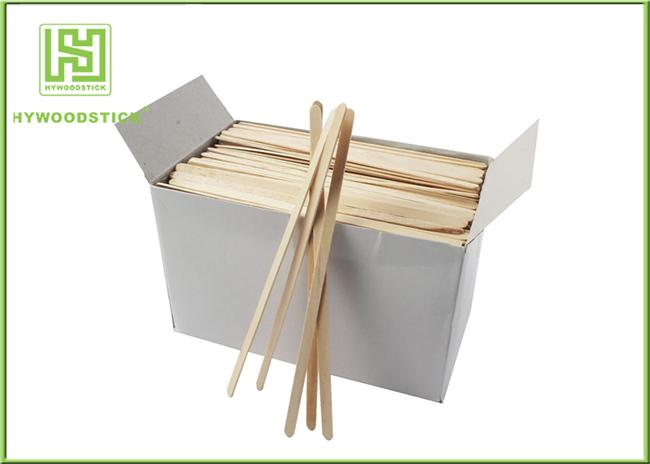 Box Packing Custom Drink Stirrers Bar Tools , Short Thick Wooden Coffee Stir Sticks