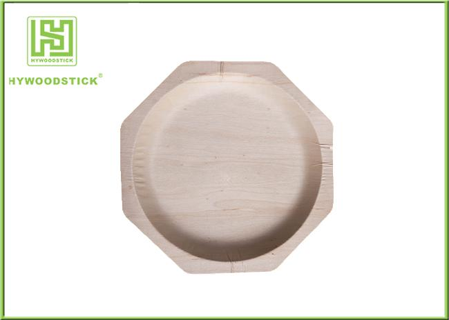 Wooden Salad Plates Disposable Party Tableware , Safe Wooden Cake Plate For Kids
