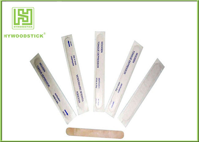 Individually Wrapped Tongue Depressors Wooden Medical Sticks For Clinic