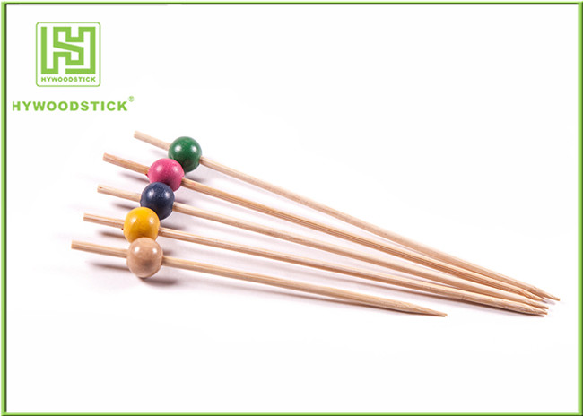 Fancy Extra Long Toothpicks Skewers Wood Beads Smooth Bamboo Food